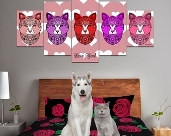 Fancy Pants Cat Multi-Panel Canvas Wall Art (Red) - Great Gift For Cat Lovers