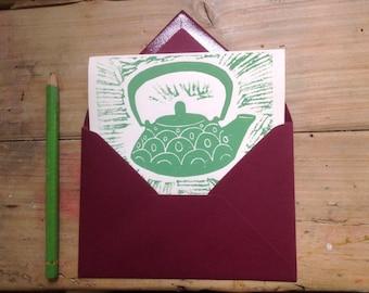 Lino printed card, tea can