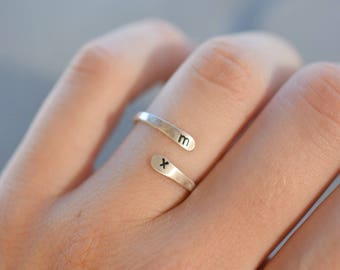 personalized sterling silver ring, open adjustable ring, personalised sterling silver ring, customized silver ring