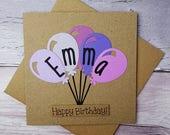 Birthday card with a name, Handmade Happy Birthday card, Birthday balloons card, Personalised Birthday card, Personalized birthday card