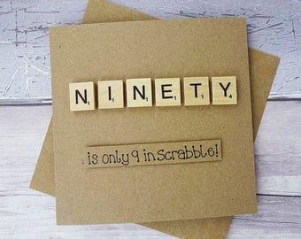 90th birthday card, Ninetieth Scrabble card, Funny birthday card, Handmade Happy Birthday Scrabble tile card, Wooden alphabet tiles, Age