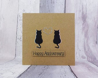 Cat anniversary card for couple, Handmade anniversary card, Congratulations card, Customise colour, name, date, Purr-fect pun card