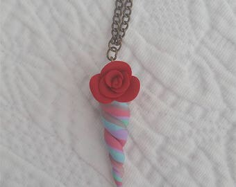 Unicorn Horn Pastel Pendant Necklace 'Red Rose' Collection