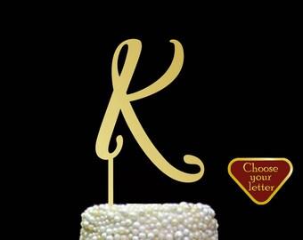 Letter k Cake Topper, k Cake Topper, initial cake topper, gold letter cake topper, monogram wedding cake topper, custom cake topper, CT#101