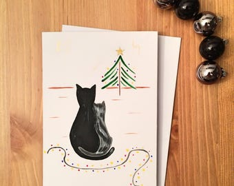 Two Cats Christmas Card Handmade Christmas Card for Boyfriend Original Lovely Christmas Card Hand Drawn Card by Maria Bukharova