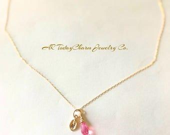 Swarovski Crystal Teardrop Necklace, Crystal Jewelry, Pink Crystal, Wire Wrapped, Monogram Crystal Necklace, Bridesmaid Gift,  Minimalist