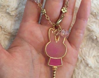 Pink Resin Bunny Bag Charm