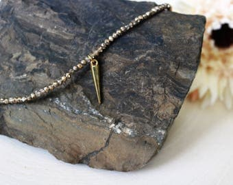 Gold Spike Choker Necklace, Bohemian Jewelry, Valentine's Day Gift
