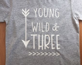 Young Wild & Three Shirt, Birthday Shirt 3, Boys Birthday Shirt, Three Birthday Shirt, 3rd Birthday Shirt, Young Wild and Three TShirt