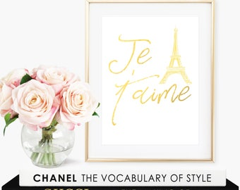 Je T'aime Print / Nursery Decor Girl / Nursery Decor Wall Art / French Nursery Decor / Nursery Decor Print / Je T'aime Wall Art / Art Print