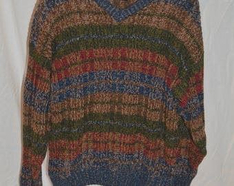 Mens 90s Gant Multi Colored Variegated Long Sleeve Pullover Sweater - Size Large