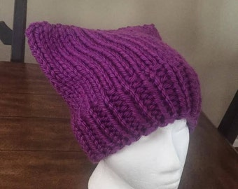 knit Cat Hat - purple