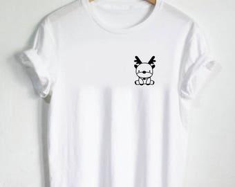 Reindeer Shirt - Pocket Shirt Cute Shirt Womans Tee Mens Tshirt Gift Christmas Winter Reindeers Deer Elk Animal Snow Santa