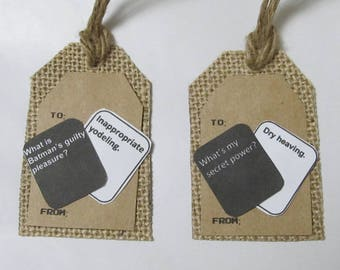 Cards Against Humanity Gift Tags, Pack of 4 Rustic Gift Tags, Customized Gift Tags