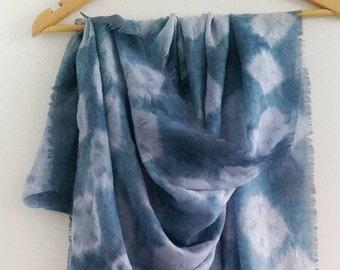 Cotton Gauze Artistic Shibori Shawl, 80cm x 190cm,  Handmade