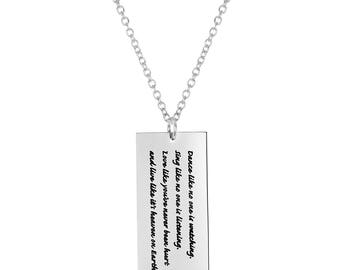 """Stainless Steel Dance Like No One's Watching Inspirational Rectangular Dog Tag Pendant, 18"""" Chain Necklace"""