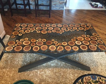 Wood discs and fireglass epoxy resin table