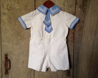 Sailor suit, 1936, vintage childs clothing, romper suit, all in one, thirties