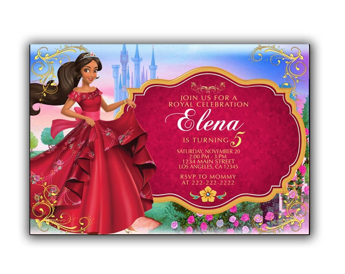 Elena of Avalor invitation, Elena of Avalor party, Elena of Avalor invite, Elena of Avalor birthday, Elena of Avalor digital file