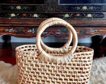 Mini Handwoven Straw Tote,Straw Basket Bag,Straw Basket Purse,Straw Beach Tote,Straw Beach Bag,Woven Straw Bag,Mini Straw Bag,Straw Basket