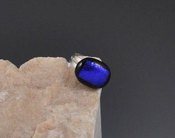 Dichroic Fused Glass Ring in Shimmering Blue and Black with Silver Adjustable Ring