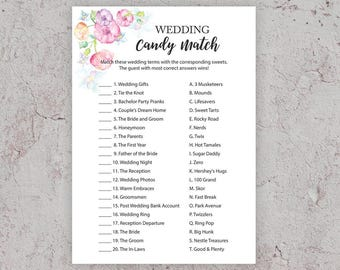 Wedding Candy Match, Bridal Shower Games, Candy Game, Candy Bar Matching Game,Wedding Shower Candy Game, Printable Shower Games, BSFP2