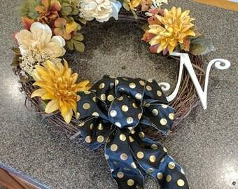 Monogrammed Mixed Flower Rustic Burlap Fall Door Wreath 18in diameter