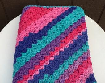 Crochet Throw Blanket, Crochet Lap Blanket, Crochet Afghan, Lap Afghan Throw, Striped Blanket, C2C Crochet Blanket, Corner to Corner Crochet