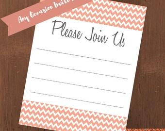 Peach Chevron Party Invitation || Fill-in-the-Blank Invite || INSTANT DOWNLOAD