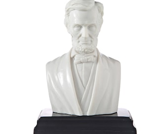 American President Abraham Lincoln Marble Bust / Statue 13.5cm (5.3'') white