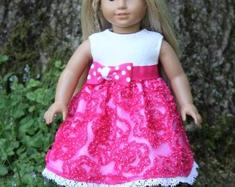 Pink and White Polka Dot Swirl Dress...Fits American Girl doll and other 18 inch dolls