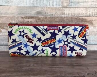 Pencil Case – Trains! Japanese Fabric Handmade Zipper Pouch Case – Toiletries – Zippered Back to School Supplies Boys Kids