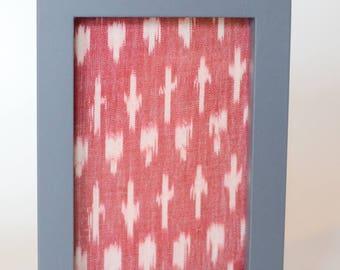Red / White Ikat in Grey frame 10 x 15cm
