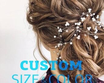 Bride hair accessory Pearls crystal vine bridal Wedding hair piece Babys breath long vine hair Bridal hair vine Dainty hair piece Rose gold