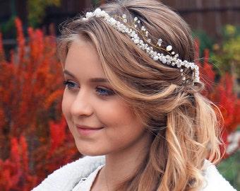 Wedding hair vine - Bridal hair vine- Bridal headpiece-Leaves headpiece-Bride hair vine-Hair vine wedding-Hair vine bridal-Crystal hair vine