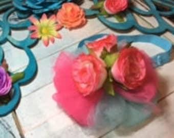 Pink Blue Flower Baby Headband/Baby Headband/Flower Headband/Tulle Headband/Child Headband/Cute Baby/Baby Shower Gift/Pink Rose Headband