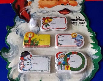 80 Vintage Christmas Gift Tags With Strings On A Father Christmas Card