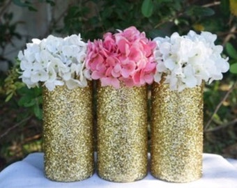 3 Glitter Centerpieces, Glitter Vases, Gold Vases, Glass Vases, Wedding Centerpieces, Baby Shower Centerpieces, Gold Centerpieces