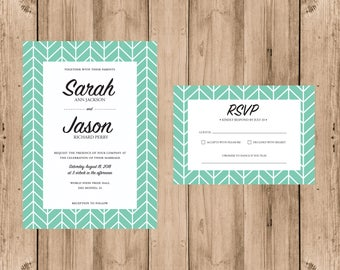 Herringbone Invitation & RSVP- elegant, colorful