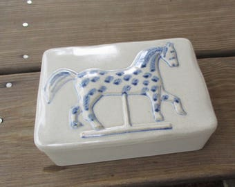 Museum of American Folk Art Carousel Horse Pottery Box  Made in Japan, Blue Carousel Horse, Trinket Box, Ceramic Box with Lid