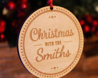 Personalised Christmas With Tree Decoration | Engraved Wooden Bauble Gift