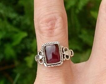 Silver Garnet ring.