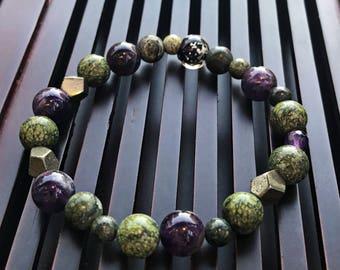 Russian Serpantine/Pyrite/Amethyst/Lampwork Glow in the Dark Beaded Yoga Mala Bracelet. Healing Crystal/Natural Gemstone Bracelet.