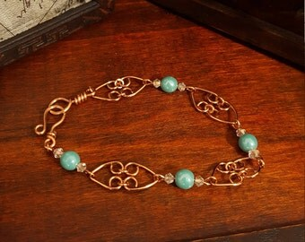 Copper Hearts Beaded Bracelet  - Vintage Inspired – Winter 2017 Limited Edition