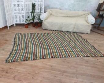 Colorful living room rug, Wool area rug, Hand woven throw rug, Wool throw, Bedroom rug, Stiped rug, Blue, Green, Red, Natural rug, Floor rug