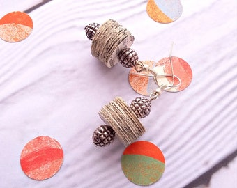 Earrings with recycled paper discs