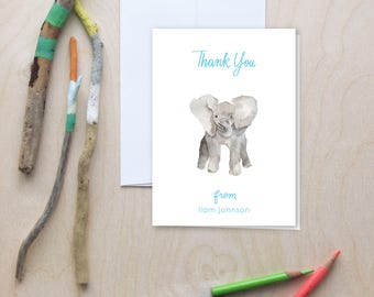 Baby shower thank you notes, Elephant thank you notes, Kids thank you cards, Note Cards, Personalized Note Cards, Personalized Stationery