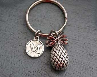 Pineapple Keychain, Personalized Pineapple Keychain, Pineapple Gifts, Pineapple Key Chain, Letter Keychain, Pineapple Initial Gifts, Custom