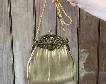1960's Vintage HL USA Gold Lame hand bag