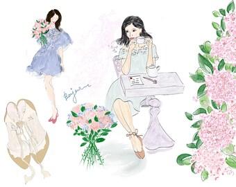 Digital fashion clipart Fashion illustration 5 handdrawn cliparts Girl clipart Flower clipart Peony clipart Flats clipart Parisian girl